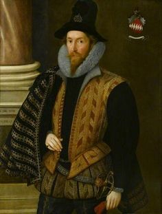 A Man of the Bereton Family, 1598 (attributed to Marcus Gheeraerts the Younger) (1561-1636)   Chequers Trust, Buckinhamshire