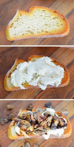 Roasted Thyme Mushroom + Burrata Crostini | Luci's Morsels :: Southern California Food Blogger
