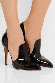 Heel measures approximately 100mm/ 4 inches Black patent-leather Slip on Made in Italy