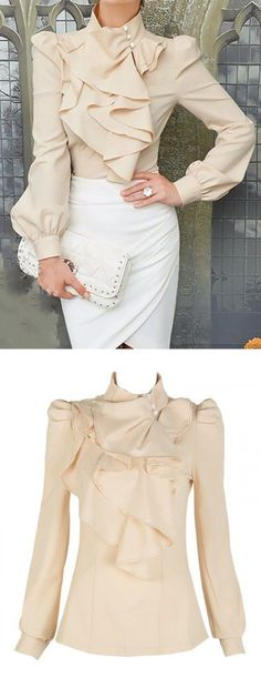 Beige High Neck Blouse With Ruffle Front Choies