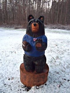 New York Giants Chainsaw Carved Bear by carvnstitch on Etsy, $200.00