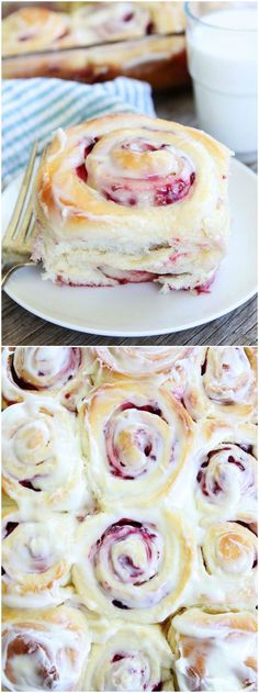 Raspberry Sweet Rolls Recipe on twopeasandtheirpod.com. Love these soft and sweet yeast rolls! The raspberry filling and cream cheese frosting are amazing!