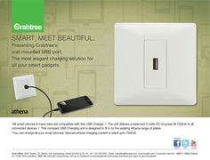 Crabtree brings the latest in modular series wall mounted USB port. The most elegant charging solution for all your smart gadgets. Wall Mount, Smartphone, Gadgets, Usb, The Unit, Elegant, Appliances, Classy, Chic