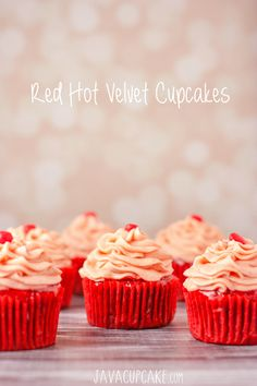 Red Hot Velvet Cupcakes from @Betsy   JavaCupcake