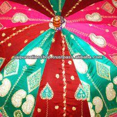 Traditional Sari Material Handmade Indian parasols / tribal Indian bohemian Colorful embroidered umbrella  - outdoor sun garden umbrella, unique design umbrella.