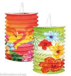 Hawaiian Tropical Hula Party 2 Pack Decorated Hawaii Lanterns Garden Decoration | eBay