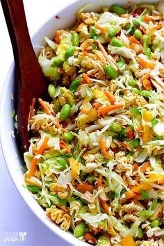 Asian Ramen Noodle Salad (a. Basically the Best Potluck Salad EVER), Crunchy Asian Ramen Noodle Salad (a. Basically the Best Potluck Salad EVER), Crunchy Asian Ramen Noodle Salad (a. Basically the Best Potluck Salad EVER), Healthy Salad Recipes, Vegetarian Recipes, Cooking Recipes, Healthy Meals, Healthy Potluck, Cabbage Salad Recipes, Cooking Corn, Oven Recipes, Noodle Recipes