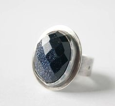 Blue Sunstone and Sterling Silver Ring Oval Stone Ring