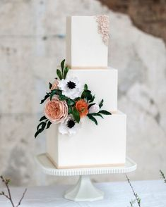 Trending Right now: Bas-Relief Wedding Cakes WeddingCake WeddingCakeInspiration Fondant BasRelief UniqueWeddingCake Martha Stewart Weddings Textured Wedding Cakes, Square Wedding Cakes, Floral Wedding Cakes, White Wedding Cakes, Elegant Wedding Cakes, Beautiful Wedding Cakes, Wedding Cake Designs, Floral Cake, Gold Wedding