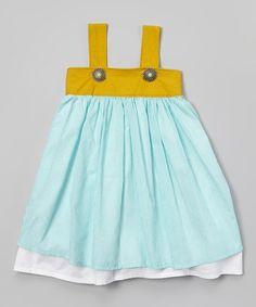 Aqua & Mustard Stripe Litza Dress - Toddler & Girls by Banana Bread Baby #zulily #zulilyfinds