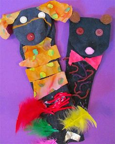 My favorite sock puppet link--using scraps of fabric, feathers, buttons, etc.