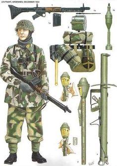 Teniente paracaidista en las Ardenas, diciembre de 1944 1: Rifle automatico FG-42 1a: Cargador de 20 balas del rifle automatico FG-42 1b: Bayoneta del rifle automatico FG-42 2: Equipo necesario de todo combatiente (pala, cantimplora, poncho de camuflaje, equipo medico, mascara de gas, etc) 3: Arma antitanque portatil, Panzerfaust 4: Lanzacohetes Panzerschreck 4a: Proyectil de Panzerschreck