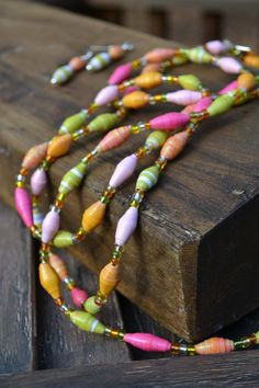 Sweet Sherbert Paper Bead Jewelry Set  2 by makingfootprints, $21.00 (made by a friend who uses profits for mission work) So pretty!! :)
