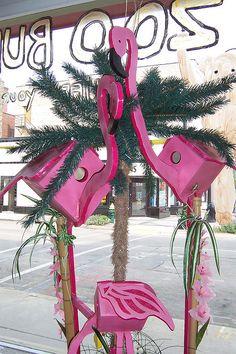 Pink Flamingo Birdhouses