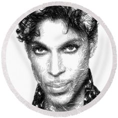 Round Beach Towel - Prince - Tribute Sketch In Black And White