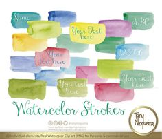 """Watercolor Strokes 2.5 x 1"""" clip art images watercolor hand painted PNG transparent background Instant Download for blog cards invitations"""