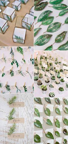 Green wedding escort card ideas | Eco escort card ideas