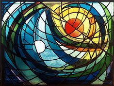 SUN AND MOON - My first stained glass piece, a 3-D freestanding sculpture.    Exhibited at Ankrom Gallery. Los Angeles  Materials: Leaded glass sculpture  Dimensions: 120 cm x 90 cm x 30 cm      © Kristin Newton