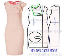 El vestido rosado con los volantes - la Moda del Molde para la Medida