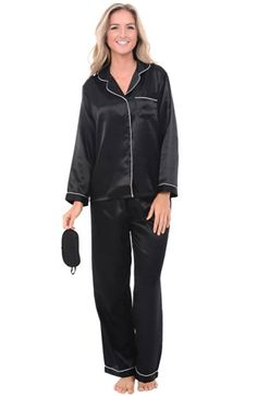 Del Rossa Women's Satin Pajamas, Long Button-Down Pj Set and Mask at Amazon Women's Clothing store: Ladies Pajamas MED OR LARGE