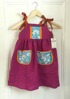 Upcycled Linen Baby Dress