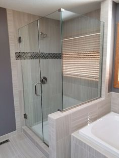 Glass Shower Enclosures can truly transform any bathroom. They are designed in a manner that brings together all of the bathroom elements, like decorative tiles, marble and granite, trendy shower heads and lightning. Modern Shower Doors, Glass Shower Enclosures, Custom Mirrors, Custom Shower, Types Of Doors, Decorative Tile, Shower Heads, Cut Glass, Granite