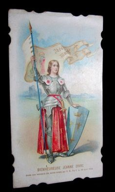 ANTIQUE HOLY CARD DIE CUT - SAINT JOAN OF ARC - CA 1909.