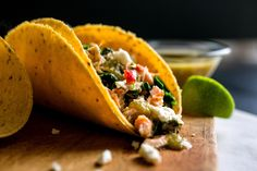 Tacos With Salmon or Arctic Char, Greens and Tomatillo Salsa by NYTimes.com. #FishTacos #Tacos #HealthyRecipe #Mexican