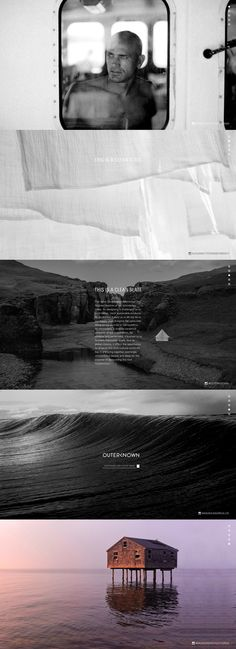 Minimal launching soon page for pro surfer, Kelly Slater's new lifestyle brand, 'Outerknown'. The responsive one pager features a dot navigation that helps scroll through the big mysterious imagery that give a teaser of the brand values.