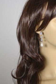 Long Pearl Crystal Stud EarringsBridesmaids by thefabbridaljewelry