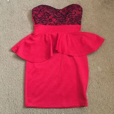 red dress small red dress with black lace Dresses Mini