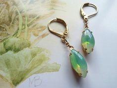 Green Opal Rhinestone Vintage Earrings by MissShugsJewelryShow
