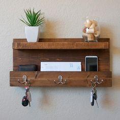DIY Headboards - Modern Rustic Mail Organizer with Floating Shelf Entryway Shelf, Rustic Entryway, Rustic Decor, Modern Rustic, Modern Decor, Rustic Furniture, Diy Furniture, Home Decoracion, Key Rack