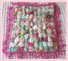 Patchwork Fringe Baby Quilt Made with by NeshasVintageNiche, $49.99