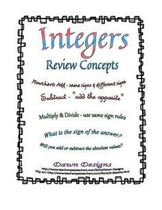 14 best Adding Integers images on Pinterest | Math classroom, High ...