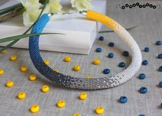 Gradient blue necklace Spring necklace Crochet necklace Beaded