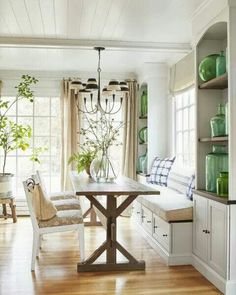 Absolutely love this!  Built ins, farm table and bench with storage!