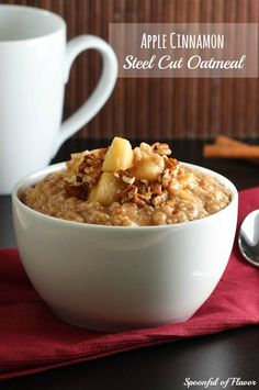 Apple Cinnamon Steel Cut Oatmeal ~ A wholesome, sweet, and a seasonal favorite!