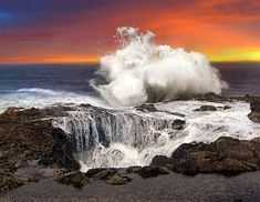 Ever saw a gigantic hole in a place? You will be surprised to see Thor's Well, a salt water fountain. Thor's Well is one of the wild sites in Oregon. Oregon Travel, Oregon Coast Camping, Oregon Road Trip, Travel Usa, Beach Travel, Viaje A Oregon, Jacob's Well, Thors Well Oregon, Crooked Forest