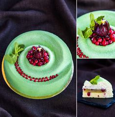 "Nina Tarasova. ""Fleur de rhubarbe"": sponge cake ""Emmanuel"" with red currants; jelly with rhubarb and red currants; ganache with hibiscus; mousse with rhubarb and hibiscus."