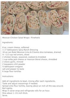 Mexican Chicken Salad Wraps - even if you dont use a tortilla, this sounds yummy Recipes Appetizers And Snacks, Appetizer Salads, Appetizers For Party, Snack Recipes, Cooking Recipes, Yummy Drinks, Yummy Food, Mexican Chicken Salads, Salad Wraps