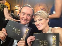 House of Cards stars Kevin Spacey and Robin Wright are ready for the Golden Globes