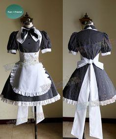 Get a set of punk lolita cafe maid uniform here, handmade with high quality fabric, custom size available. French Maid Dress, French Maid Uniform, French Maid Costume, Cafe Uniform, Victorian Maid, Cute Dresses, Cute Outfits, Lolita Mode, Estilo Lolita