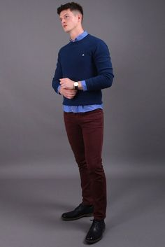 Cork Blue Crew Neck Waffle Knit Reinvent your street style & work clothing attire with this amazing blue crew neck knit sweater. When it comes to poor q. Fashion Wear, Trendy Fashion, Mens Fashion, Work Casual, Men Casual, Smart Casual Menswear, Wearing All Black, Blue Crew, Weekend Fun