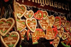 Germany Munich Christmas Market gingerbread cookies traditional Christmas cookies displayed for sale holiday celebration