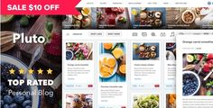 On sale - $10 discount!!! Theme Pluto is a perfect theme for casual bloggers. It can be used for a cooking website, family blog, technology blog, personal blog or any other kind of blog which is simple to setup and use.  #food #blog #theme