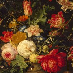 """Vase of Flowers"" by Abraham Mignon (1640–1679)  Mignon  painted still life compositions with flowers and fruit in the tradition of the Dutch old masters. In conformity with the genre, this painting contains a symbolic message: the picture reminded the viewer of the transience of life. The wilting buds nestling among the fully blown roses hinted towards the passage of time, along with the poppy (symbol of sleep) and ears of wheat (symbol of eternal life)."