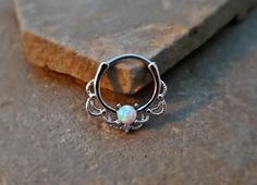 Septum Clicker Blue Fire Opal Nose Jewelry 16ga Daith Ring Clicker Bull Ring Nose Piercing - BodyDazzle - 4