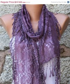 I LOVE THIS! Purple Lace Scarf   Shawl Scarf  Cowl Scarf   fatwoman by fatwoman, $15.30