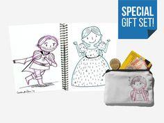 SPECIAL GIFT SET - Princess Prince Illustrated Mini Sketchbook  Illustrated zipper coin purse - Gift Bundle- Valentine's Day (11.00 EUR) by Conshillustration